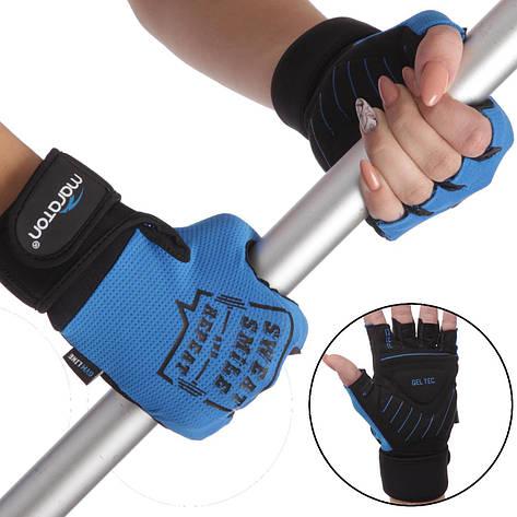 Рукавички для важкої атлетики MARATON 16-1610 (PVC, PL, відкриті пальці, р-р S-L), фото 2