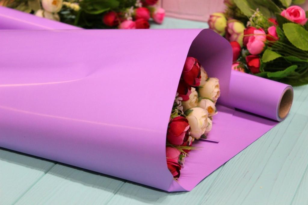 Калька для цветов - матовая флористическая пленка 50см*10м Лаванда