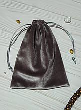 Подарунковий мішечок з оксамиту 13 х 18 см (оксамитовий мішечок, мішечок для прикрас) колір - сірий