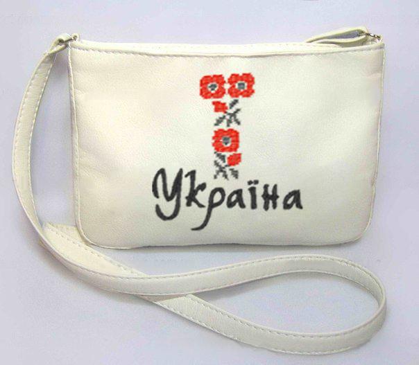 """Сумочка """"Мini"""" - №248 """"Украинская вышивка""""- белая"""