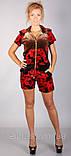 Бархатный модный костюм с розами с капюшоном красного цвета, фото 3