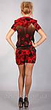 Бархатный модный костюм с розами с капюшоном красного цвета, фото 4