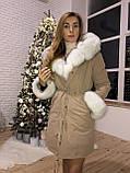 Бежевая куртка парка с натуральным мехом песца, фото 10