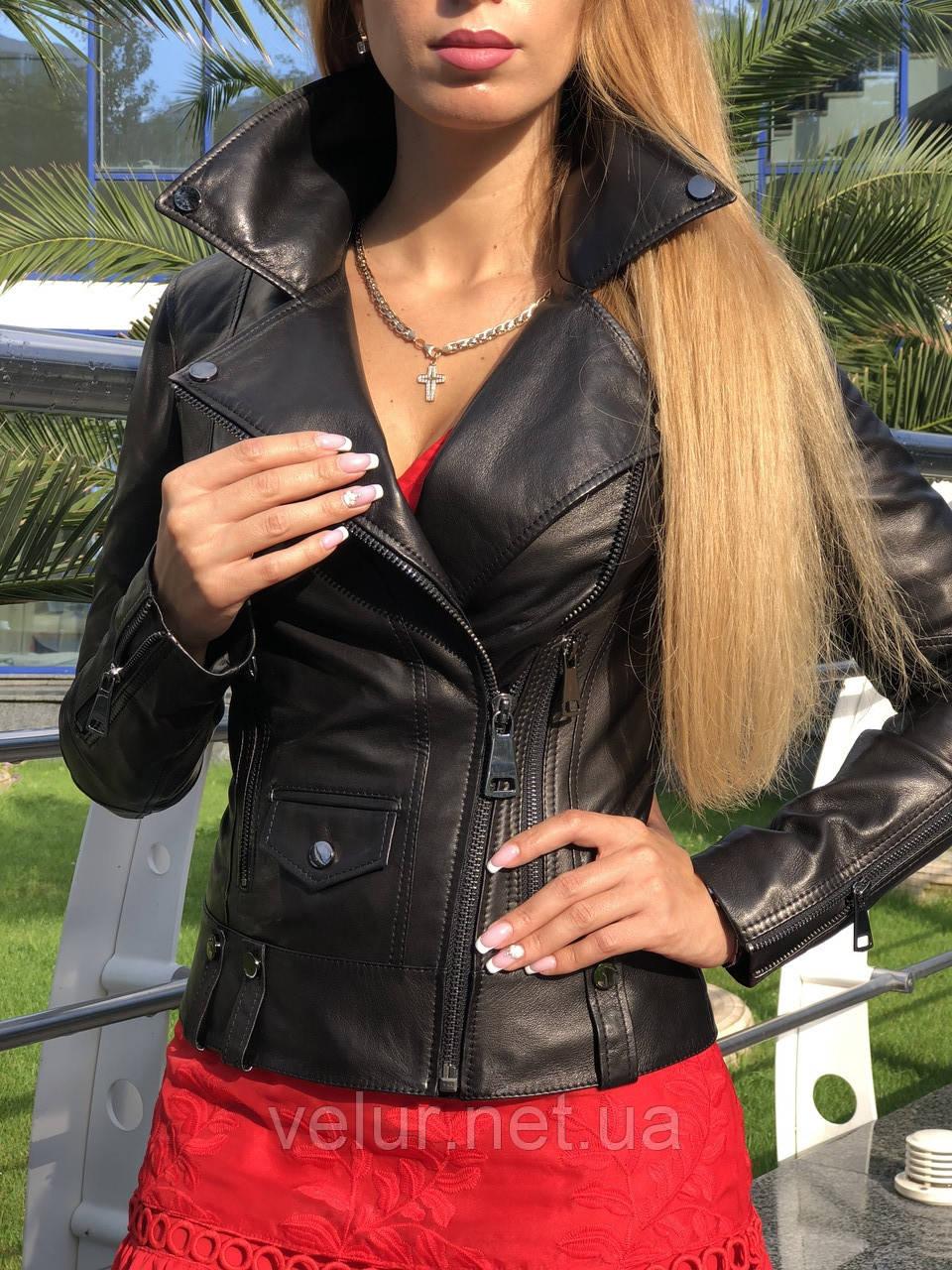 Куртка женская черная из натуральной телячьей кожи,разм XS, S, M, L , XL ,Турция.