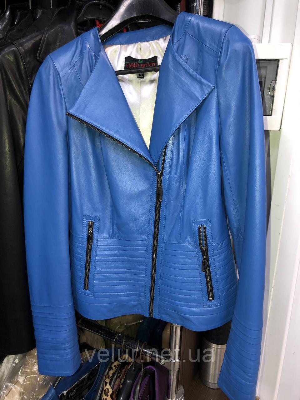 Синя шкіряна куртка Туреччина