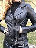 Черная брендовая куртка Philipp Plein из натуральной кожи, фото 3