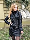 Черная брендовая куртка Philipp Plein из натуральной кожи, фото 4