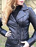 Черная брендовая куртка Philipp Plein из натуральной кожи, фото 9