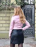 Розовая косуха из натуральной кожи с поясом, фото 9