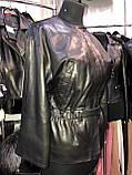 Черная кожаная куртка с пояском про-во Турция, фото 3