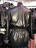 Черная кожаная куртка с пояском про-во Турция, фото 4