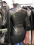Чорна шкіряна куртка строгого фасону про-во Туреччина, фото 2
