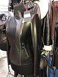 Чорна шкіряна куртка строгого фасону про-во Туреччина, фото 3