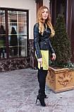 Чорна куртка з натуральної шкіри з стьобаними плічками, фото 8
