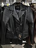 Чорна куртка з натуральної шкіри з стьобаними плічками, фото 10