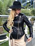 Черная куртка из натуральной кожи Fabio Monti, фото 2