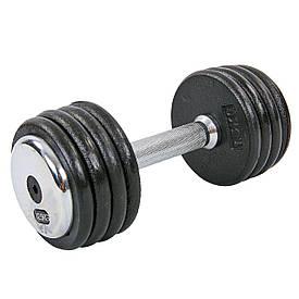 Гантель цельная профессиональная стальная RECORD (1шт) TA-7231-12_5 12,5кг (сталь, сталь хромированная, вес