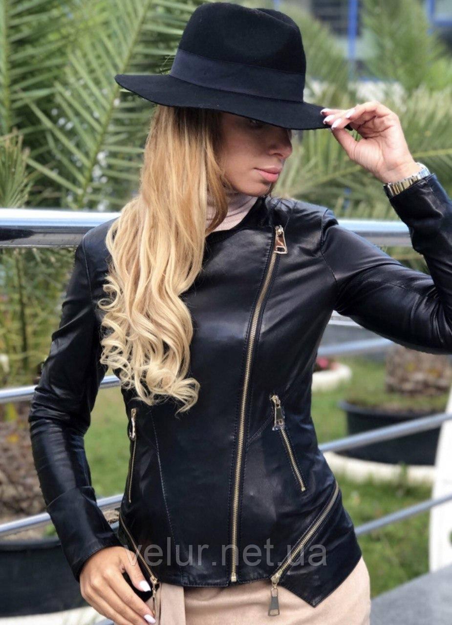 Женская кожаная куртка Fabio Monti, отстегивающийся низ,  42 ( 42, 44, 46, 48 ) черный, кожа 40
