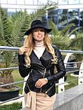 Женская кожаная куртка Fabio Monti, отстегивающийся низ,  42 ( 42, 44, 46, 48 ) черный, кожа 40, фото 3