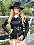 Женская кожаная куртка Fabio Monti, отстегивающийся низ,  42 ( 42, 44, 46, 48 ) черный, кожа 40, фото 4