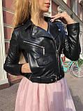 Жіноча шкіряна куртка Fabio Monti, укорочена з поясом, 42 ( 42, 44, 46 ) чорний, шкіра 42, фото 6