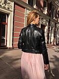 Жіноча шкіряна куртка Fabio Monti, укорочена з поясом, 42 ( 42, 44, 46 ) чорний, шкіра 42, фото 7