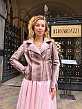 Женская кожаная куртка Deloras, классика, 44, розовый, кожа 94, фото 2