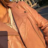 Розовая брендовая косуха из кожи, фото 7