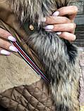 Хакі куртка парку з натуральним хутром єнота на капюшоні, фото 5