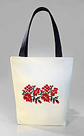 """Женская сумка """"Украинская вышивка"""" Б325 - белая с черными ручками"""
