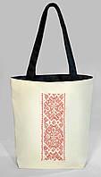 """Женская сумка """"Украинская вышивка"""" Б333 - белая с черными ручками, фото 1"""