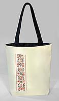 """Женская сумка """"Украинская вышивка"""" Б335 - белая с черными ручками, фото 1"""