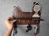 Фамільна настінна ключниця для дому з полицею., фото 1