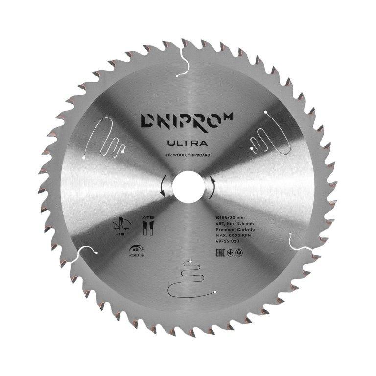 Пильный диск Dnipro-M ULTRA 185 мм 20 16 65Mn 48Т (по дереву, ДСП)