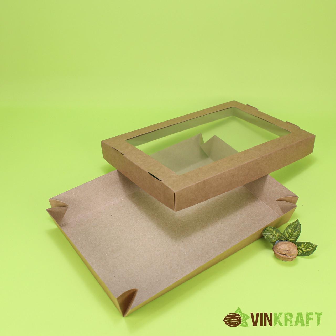 Коробка 300*200*50 для десерта з вікном, крафт
