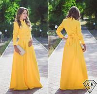 Платье  жёлтое макси габардиновое