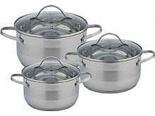 Набор посуды из нержавеющей стали Con Brio 3 предмета 2,7л/3,7л/4,9л (CB-1144)