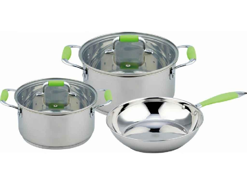 Набір посуду з нержавіючої сталі Con Brio 3 предмета 3л/6,2 л (CB-1149)
