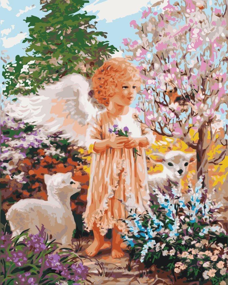 КНО2305 Раскраска по номерам Ангел в лесу, Без коробки