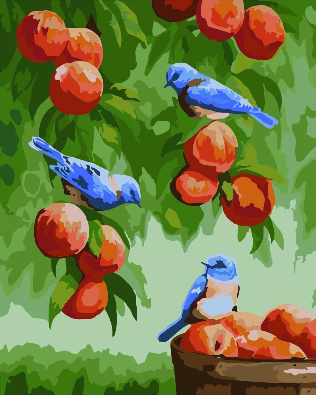 КНО2429 Раскраска по номерам Дрозды и персики, Без коробки