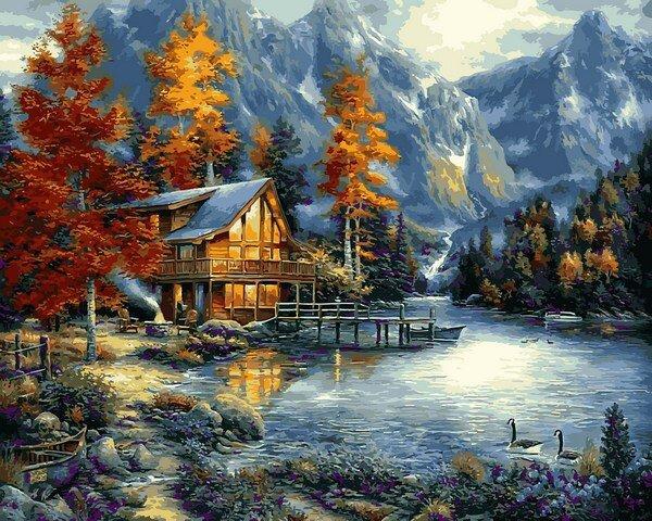 VPS1151 Картина-раскраска по номерам Осеннее озеро