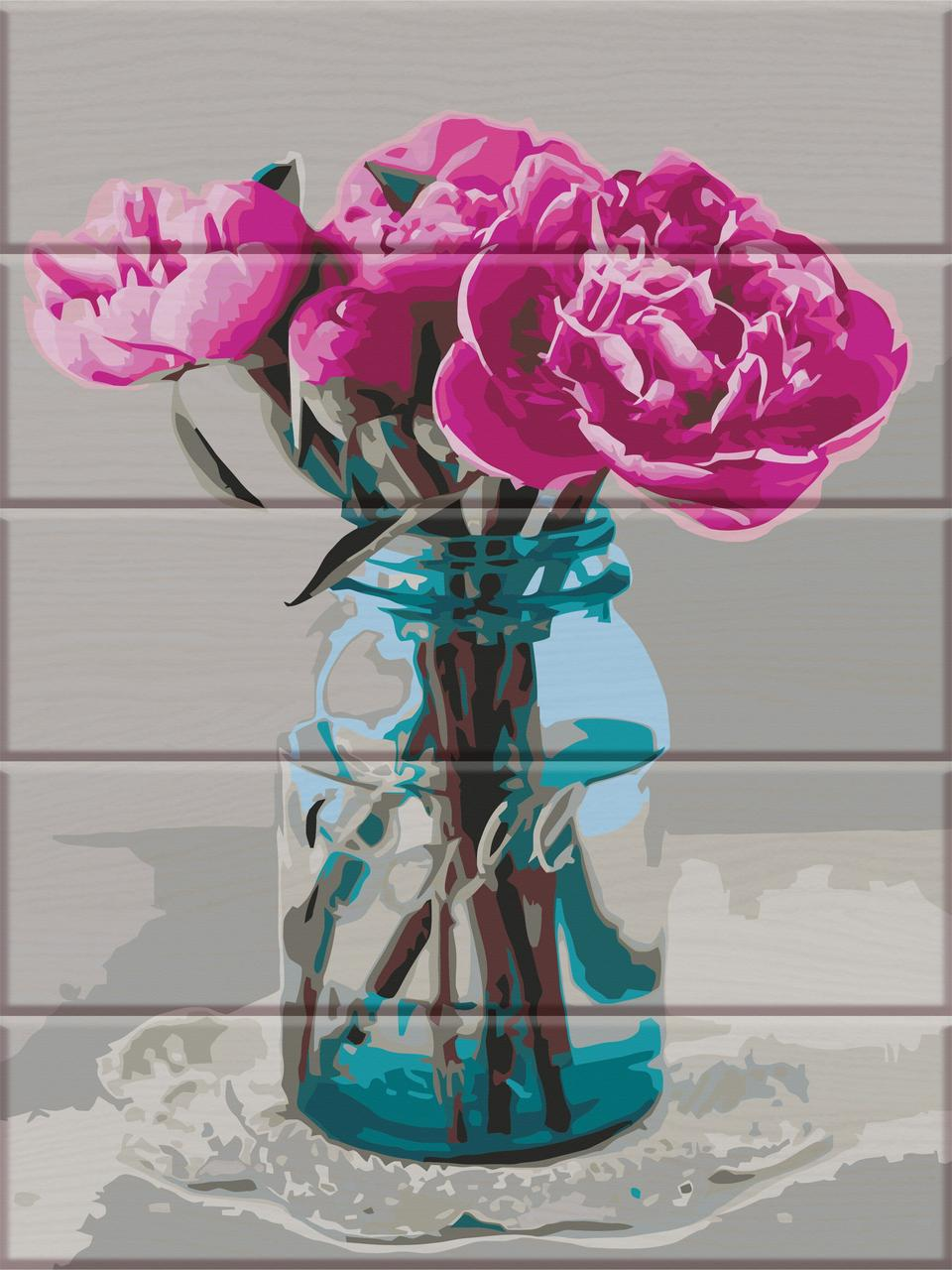 ASW080 Раскраска по номерам на деревянной основе Пионы на столе, В картонной коробке