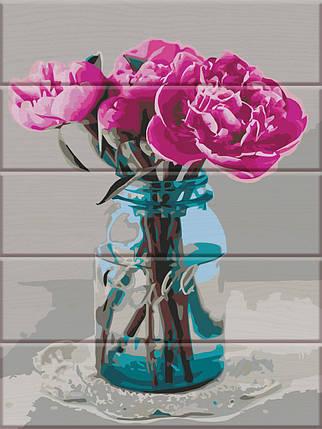 ASW080 Раскраска по номерам на деревянной основе Пионы на столе, В картонной коробке, фото 2
