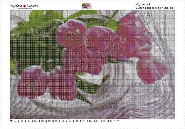 КДИ-0413 Набор алмазной вышивки Букет розовых тюльпанов, фото 2