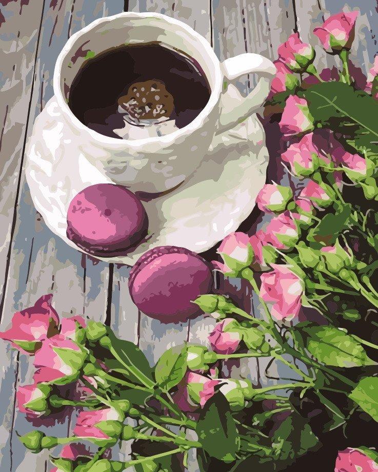 AS0129 Раскраска по номерам Утренний кофе, В картонной коробке