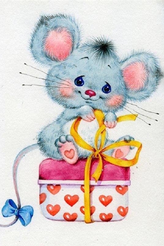 КДИ-0432 Набор алмазной вышивки Мышка с подарком