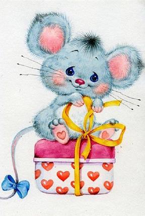 КДИ-0432 Набор алмазной вышивки Мышка с подарком, фото 2
