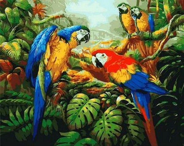 MR-Q1078 Раскраска по номерам Попугаи ара