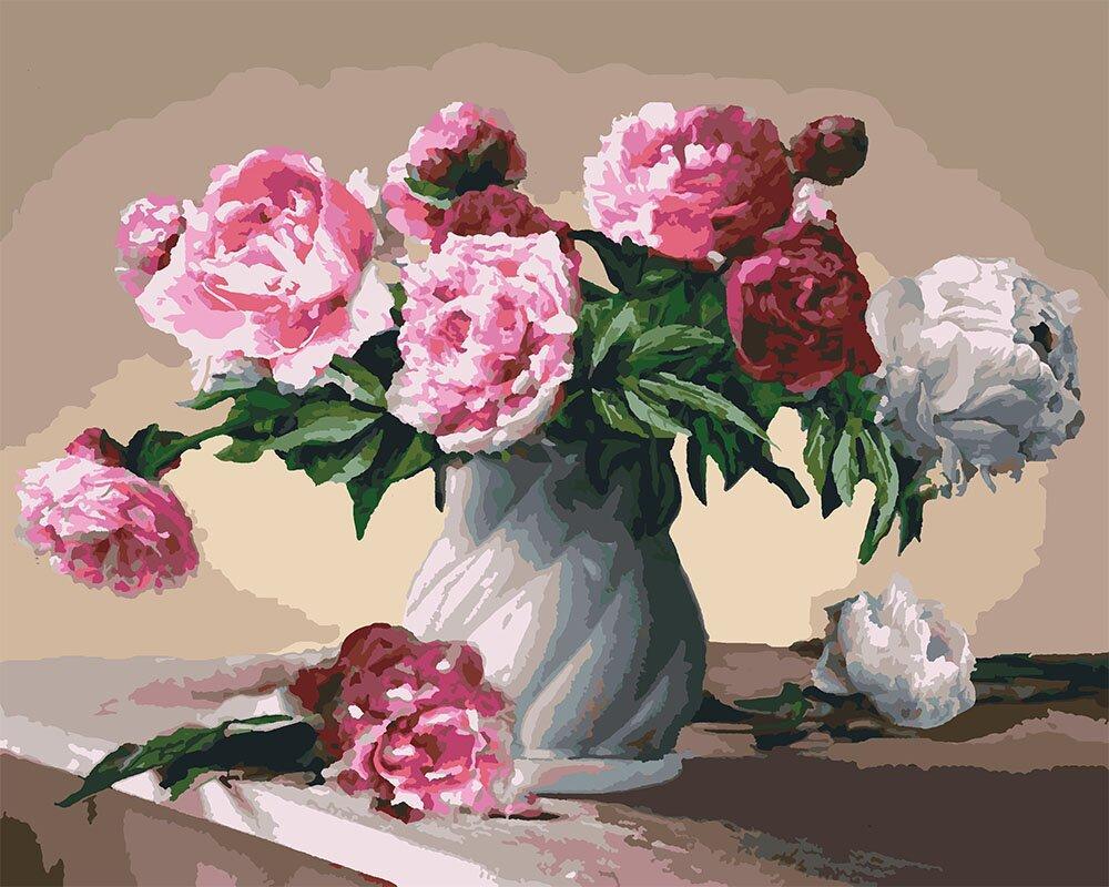 КНО3001 Розфарбування по номерах Квіти любові, Без коробки