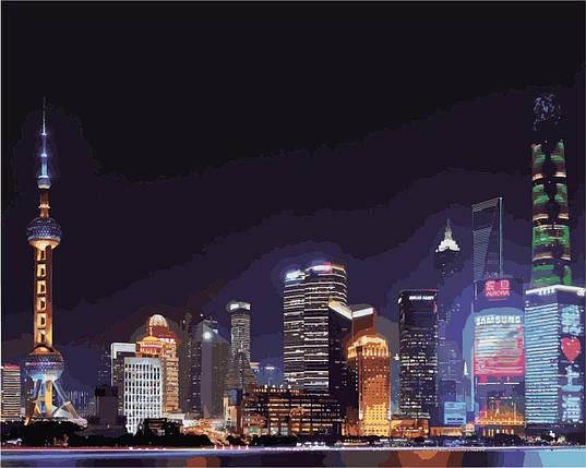 КНО3507 Розфарбування по номерах Нічний Шанхай, Без коробки, фото 2